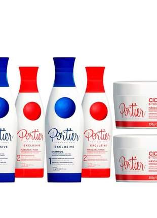 Combo 2 progressivas portier exclusive + 2 máscara portier ciclos botox 250g