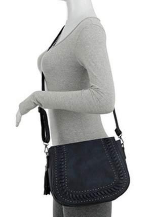 Bolsa feminina mevisto transversal costura trançada taxas e franja azul