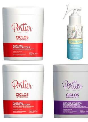 Combo portier 2 botox cliclos portier + botox matizante violet + liso mágico
