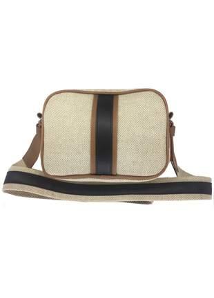 Bolsa transversal com textura de palha mevisto bege