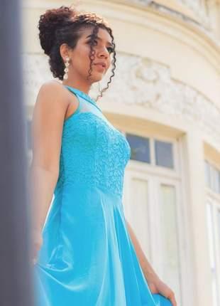 Vestido de festa tiffany madrinha de casamento 15 anos bodas aniver renda princesa