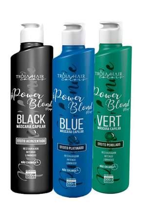 Kit matizador power blond black + blue + vert tróia hair