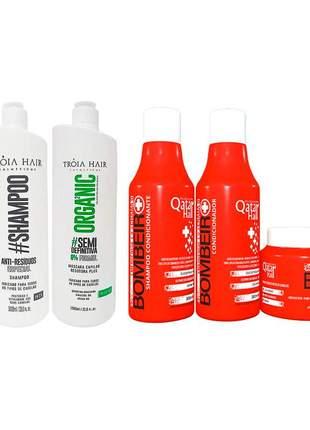 Kit progressiva semi definitiva organica + home care bombeiro qatar troia hair
