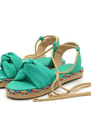 Rasteira em nó azul turquesa amarrar na perna sola colorida corda