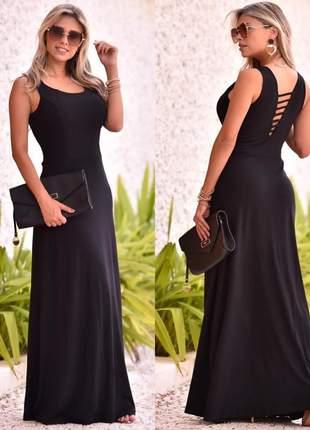 Vestido longo com detalhes nas costas