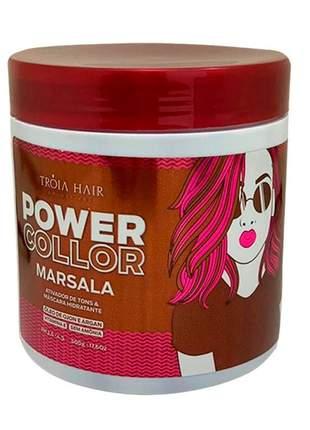 Máscara tonalizante marsala power color tróia hair 500g