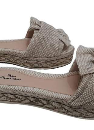 Sandália feminina flatform tamanco laço cru palha lançamento