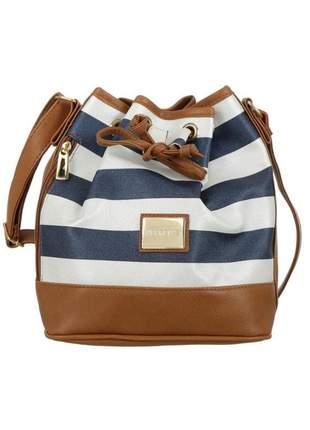 Bolsa mevisto feminina saco listrado azul