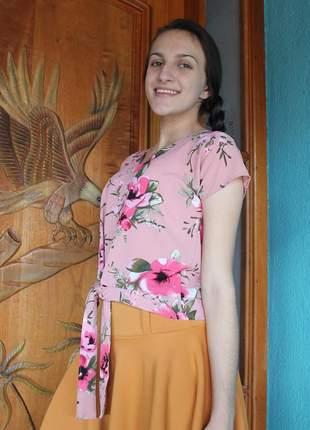 Blusa blusinha cropped crepe amarração rosas moda evangelica