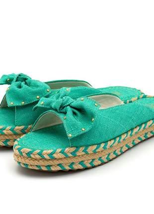 Rasteira aberta laço azul turquesa amarrar na perna sola colorida corda