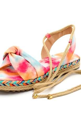 Rasteira em nó tiedye amarrar na perna sola colorida corda