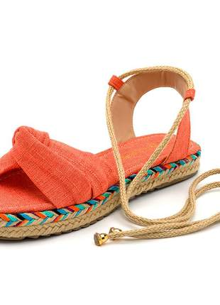 Rasteira em nó laranja amarrar na perna sola colorida corda
