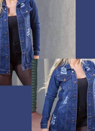 Max jaqueta jeans plus size modelo destroyed
