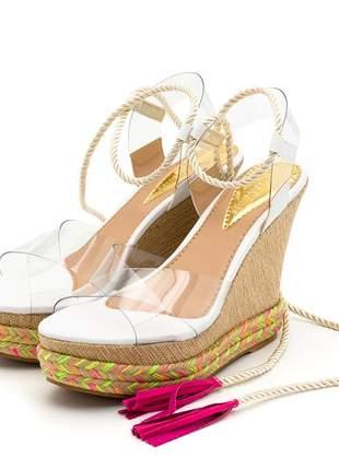 Sandália anabela transparente branco salto juta bege corda colorida