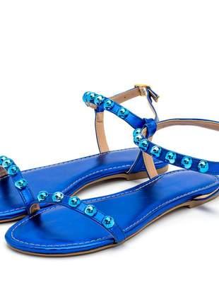 Sandália rasteira tira bolas azul metalizado