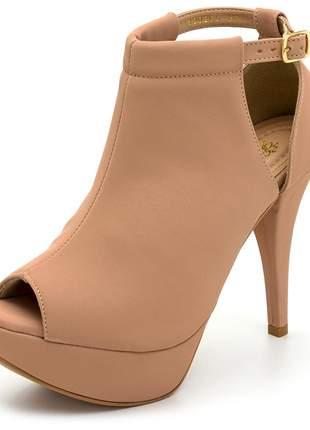 Sandália meia pata salto alto fino napa nude numeração especial