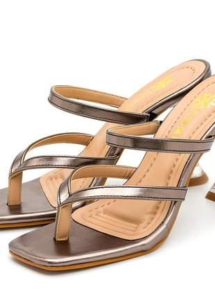 Sandália bico quadrado aberta onix metalizado salto fino taça transparente