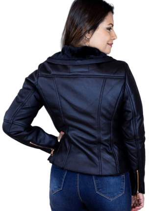 Jaqueta feminina de couro nobuque