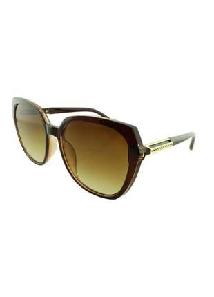 Óculos de sol feminino cp jx8000 marrom degradê + estojo brinde