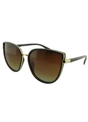Óculos de sol feminino cp polarizado tp2 marrom + estojo brinde