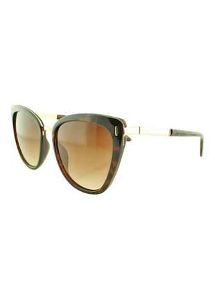 Óculos de sol feminino cp b88 marrom onça + estojo brinde