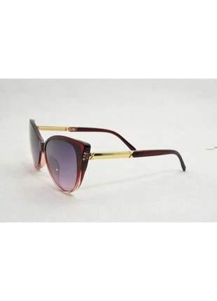 Óculos de sol feminino color people cat vinho +estojo brinde