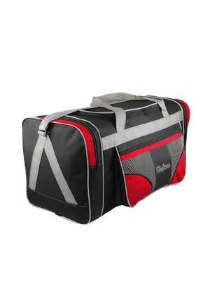 Bolsa mala de viagem grande 112l alças de mão e ombro r:1022 (preto/vermelho)