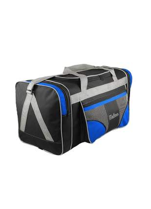 Bolsa mala de viagem grande 112l alças de mão e ombro r:1022 (preto/azul)