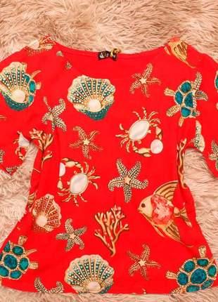 Blusa blusinha feminina evangelica crepe e malha estampada