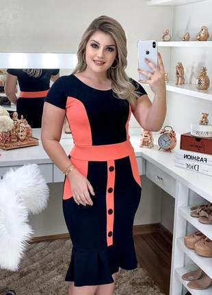 Vestido midi moda evangelica tubinho justo botao luxo social moderno