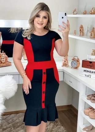 Vestido midi moda evangelica social eventos luxo bicolor blogueira