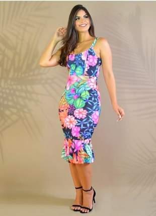Vestido de verão estampa digitalizada flores midi moda feminina festa convidadas