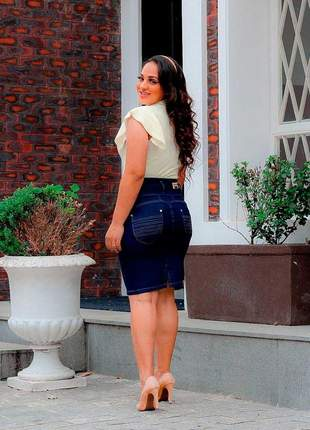 Saia feminina midi jeans justa elastano recortes evangélica