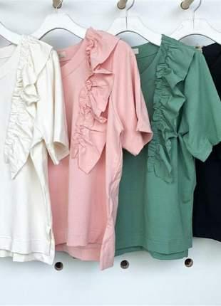 Conjunto comfy wear moletinho babados na blusa