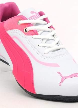 Tênis puma ferrari new branco e rosa