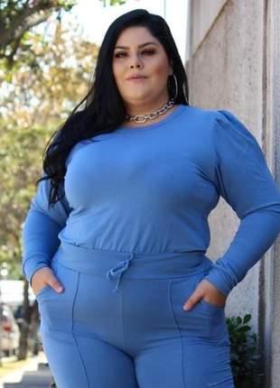 Conjunto plus size feminino calça e blusa preto