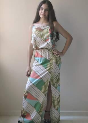 Vestido longo alças, verão, estampa folhagem (em viscose linho)