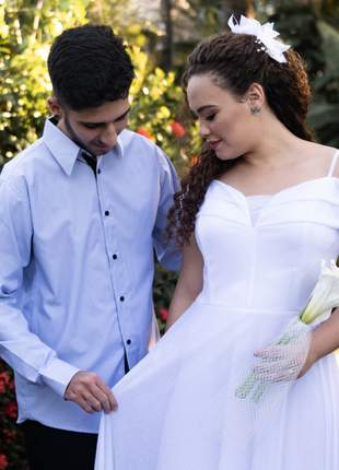 Vestido de noiva festa branco cartório civil igreja longo casamento plus size ciganinha
