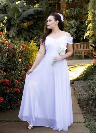 Vestido branco noiva festa cartório civil igreja manguinha longo casamento plus size bella