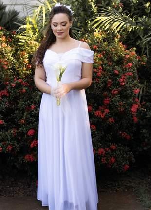 Vestido de noiva plus size branco casamento civil cartório festa igreja manguinha eventos