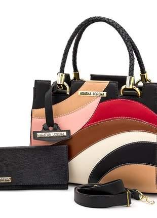 Kit bolsa castelo preto colorida + carteira