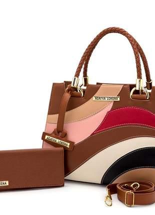 Kit bolsa castelo caramelo colorida + carteira