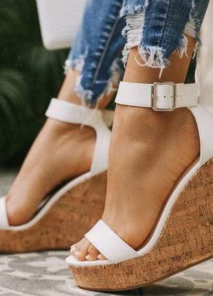 Anabela sandália feminina salto plataforma 12cm branca