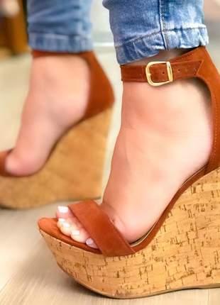 Anabela sandália feminina salto plataforma 12cm caramelo