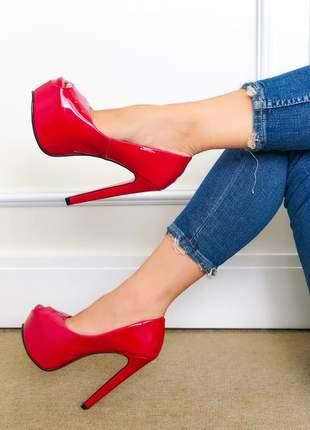 Sandália peep toe meia pata verniz vermelha salto alto