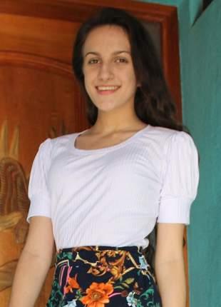 Blusa feminina gospel malha canelada branca manga bufante