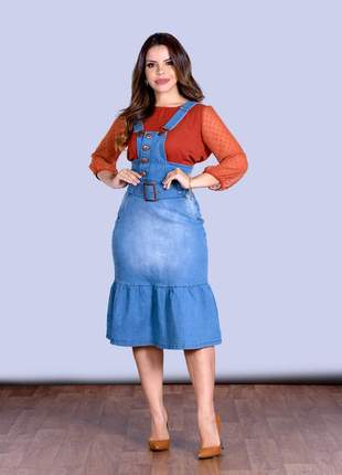 Salopete jardineira jeans midi babado peplum moda evangelica
