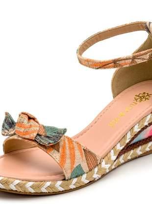 Sandália anabela floral bege tira nó salto baixo tie dye corda