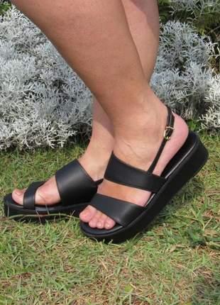 Sandalia vizzano plataforma preta ultra confortável