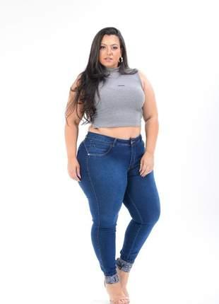 Calça jeans plus size barra love skinny